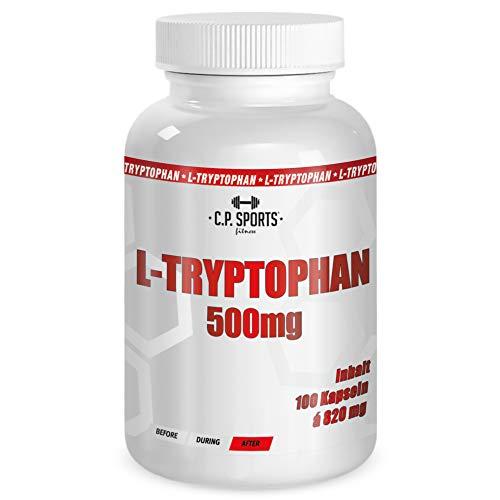 C.P. Sports L-Tryptophan 500mg Kapseln – Aminosäure (Protein) zur Behandlung von Schlafstörungen, fördert die Bildung von Serotonin, auch geeignet als Nahrungsergänzung für Bodybuilding und Fitness