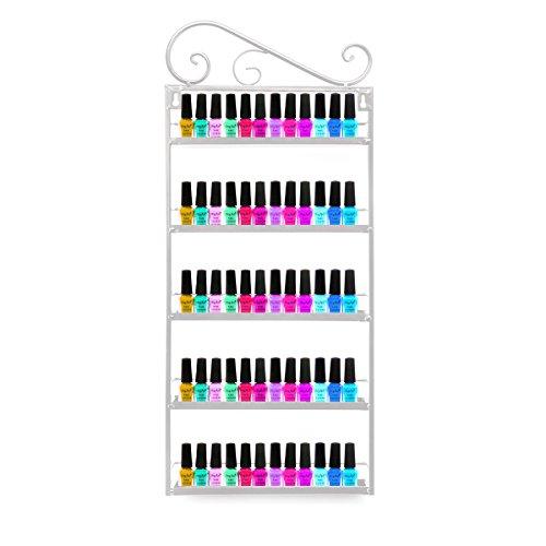 Organizador metálico para esmaltes de uñas, aceites y barras de labios, 5 baldas, color negro ✅