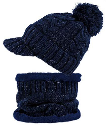 dy_mode Damen Mütze und Schal Kombi Set Schirmmütze Bommel mit Innenfutter - A305 (A305-Tiefblau)