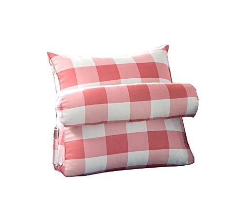Réglage triangulaire Coussin/coussin de cale arrière, canapé-lit de bureau Toile Coussins de grand repos Coussin de soutien au cou (treillis rouge) (taille : 60 * 50 * 22cm)