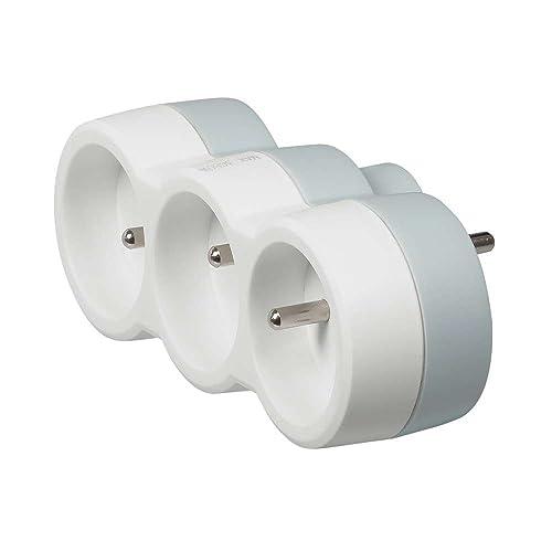 Legrand - Multiprise 3 prises électriques 2 pôles avec Terre 3 sorties Frontales - 16 A Blanc/Gris – ref 50639