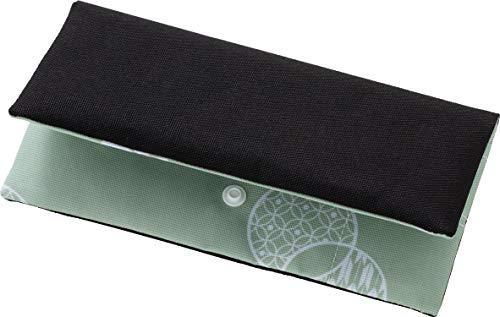 アストロ マスクケース 和モダン柄 グリーン×ブラック 携帯用 二つ折り コンパクト 613-33