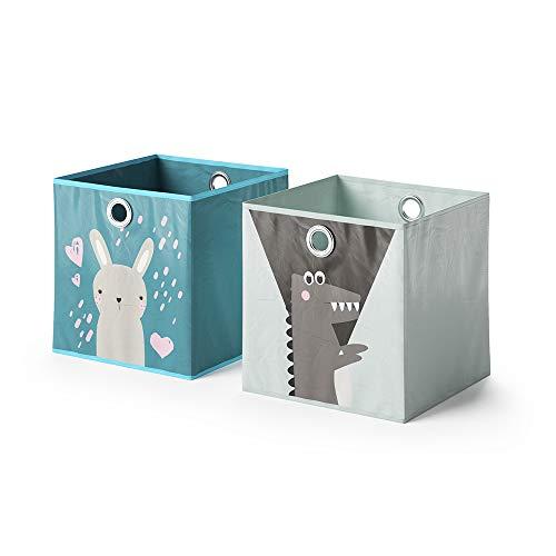 Vicco 2er Set Faltbox 30x30 cm Kinder Faltkiste Aufbewahrungsbox Regalkorb (Hase + Bär/Krokodil + Schaf)