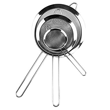 Set of 3 Food Strainers - Stainless Steel Premium Fine Mesh Strainer Set, Flour Sifter Sieve and Tea Colander - Crafted for Straining Pasta&Quinoa - Thetis Homes