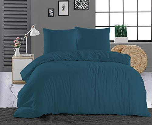 Pizuna 400 Fadenzahl aus Baumwolle Bettwäsche Saffire Blau, 100% Langstaple Baumwolle Bettbezug und Kissenbezug, 100% Baumwolle Mako Satin 3-Teilig Bettwäscheset 200x200 + 70x90 Saffire Blau