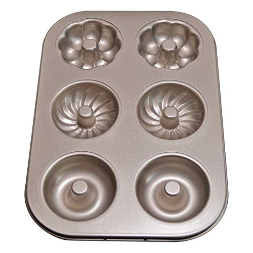 Donut Pans, Nonstick 6 Cavity Doughnut Pan with 3 Patterns, Carbon Steel Donut Mold and Mini Bagel Pan for Baking -Gold