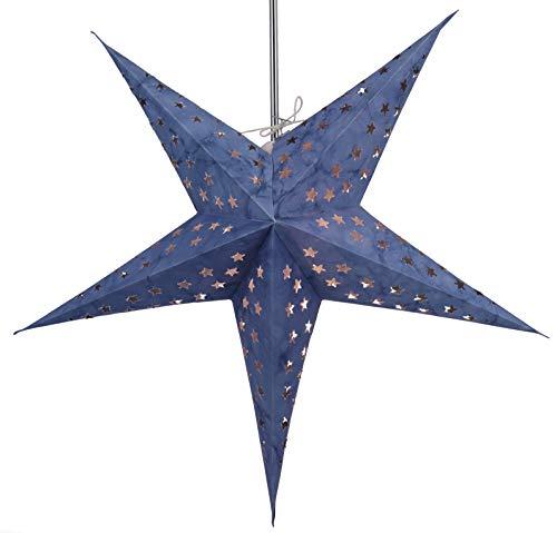 Guru-Shop Faltbarer Advents Leucht Papierstern, Weihnachtsstern Astor - Blau, 60x60x20 cm, Star Fensterdeko, 5 Spitzen
