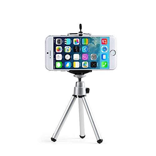 Nigoz - Soporte de trípode ajustable para teléfono móvil, ligero, portátil, para la mayoría de teléfonos inteligentes, color plateado, cómodo y de buena calidad