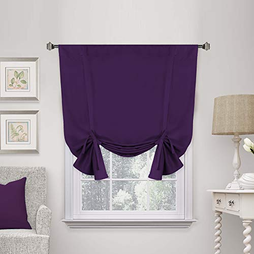 """H.Versailtex Blackout Innovated Tie Up Shade & Curtain (Thermal Insulated Rod Pocket Curtain Panel)-42"""" Wide by 63"""" Long - Solid in Plum Purple"""