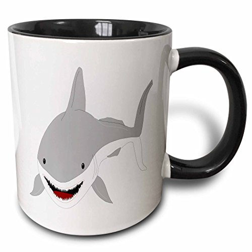 3dRose mug_45055_4'Cute Kids Shark Art' Two Tone Black Mug, 11 oz, Multicolor