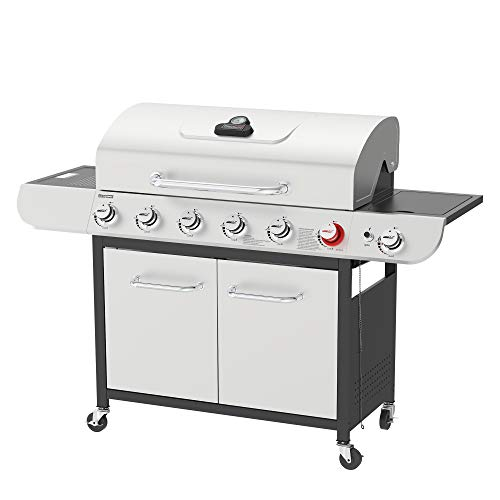 Royal Gourmet US-SG6002R 6 BBQ Liquid Propane Grill with Sear and Side Burners, 71,000 BTU Cabinet Style Stainless Steel Gas Griller, Silver