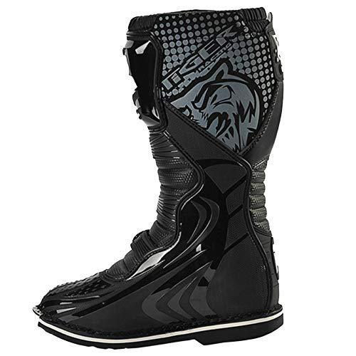 MERRYHE Chaussure De Moto pour Homme Chaussure De Moto Blindée Chaussure De Course Tout Terrain Chaussure De Protection Anti-Chute Antidérapante,Black-39