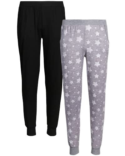 Only Girls Sweatpants - Super Soft Athletic Jogger Active Pants (2 Pack), Size 12, Heather Grey/Stars