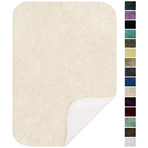 Maples Rugs ColorSoft Non Slip Washable & Quick Dry Soft Bathroom Rugs [Made in USA], 17' x 24', Fresh Ivory