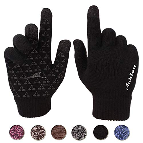 Achiou Touchscreen Knit Gloves Winter Warm for Women Men Wool Lined Texting (Black)