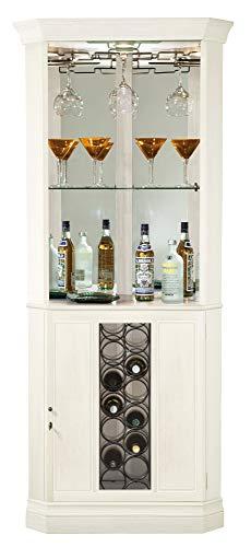 Howard Miller Piedmont V Wine & Bar Cabinet 690-046 – Aged Linen Finish, Home Liquor Storage, Hanging Stemware Rack, 13-Bottle Wine Rack, Touch-Lite Switch, Locking Door