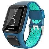 Keweni Compatible con Correa Tomtom, Correa de Reloj de Silicona de Repuesto para Tomtom Adventurer Golfer 2 / Runner 2/3 Spark/Spark 3 (Azul Menta)