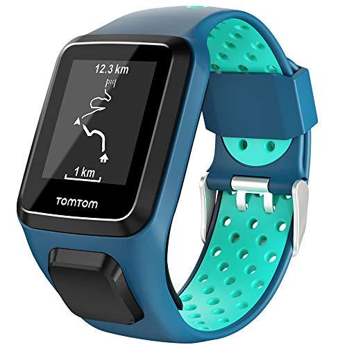 Keweni Compatibile con Cinturino Tomtom, Cinturino in Silicone di Ricambio per Tomtom Adventurer Golfer 2 / Runner 2/3 Spark/Spark 3 (Blu Menta)