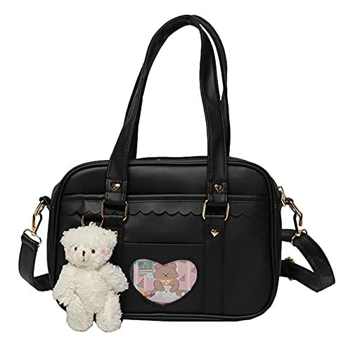 Mujeres JK Uniform Bag Bolsa de hombro Mochila de cuero PU Porttil Multiusos Crossbody para regalos de cumpleaos, Black, Talla nica,