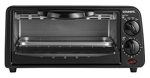 Courant TO-621K 2 Slice Compact Toaster Oven with Bake Tray and Toast Rack, Black