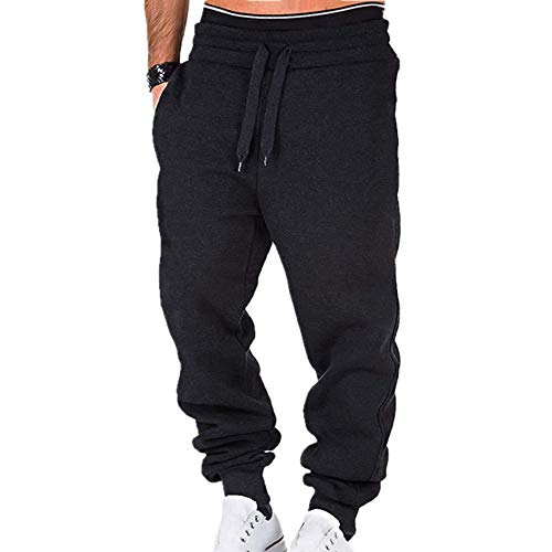 N\P Mens Casual Pants Fitness Men Sportswear Tracksuit Bottoms Skinny Sweatpants Black