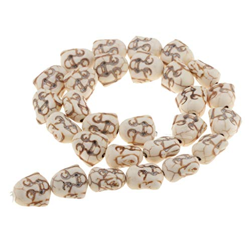 joyMerit 28pcs Green/White Turquoise Buddha Head Beads Fit for DIY Bracelet Necklace - White, 14mm