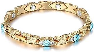 اساور مغناطيسية صحية مزينة بكريستال ازرق للنساء، اساور بتصميم سلسلة ووصلة، هدية مجوهرات