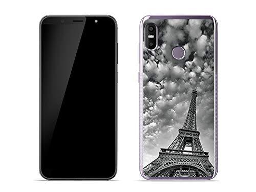 etuo Handyhülle für HTC U12 Life - Hülle Foto Case - Wolken über Eiffelturm - Handyhülle Schutzhülle Etui Case Cover Tasche für Handy