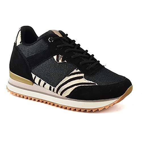 Zapatilla Sneaker Yumas NÉMESIS Negro Fabricado en Piel Vuelta y Potro Plantilla Textil para Mujer