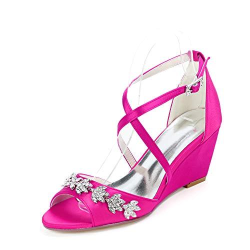 LGYKUMEG Damen Brautschuhe,Damen Sandaletten High Heels Pumps mit Blockabsatz Hoher Absatz Sexy Offene Zehen Knöchelriemen Abend Party Sandalen,07,EU39