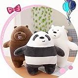 Xin Yao Store Peluche 3 Piezas 10.5 Pulgadas Somos Osos Desnudos Peluche De Peluche Oso Grizzly Muñeca De Peluche Oso Blanco Gris Panda Toy Regalo De Cumpleaños para Niños