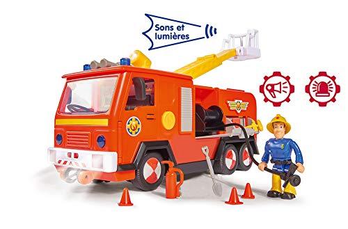 Smoby Sam Il Pompiere - Camion Pompiere Jupiter con Suoni e luci + 1 Statuetta