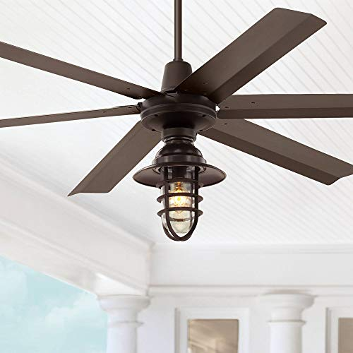 60' Turbina Max Industrial Outdoor Ceiling Fan with Light LED Remote Control Oil Rubbed...