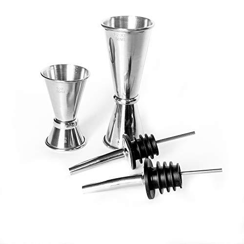 Professional Grade Bar Tools Accessories – 2 Double Stainless Steel Cocktail Bar Jiggers 1/2oz 1oz and 12/3oz – 2 Bottle Cork Stoppers with Spouts/Liquor Pourer Spouts/Olive Oil Dispenser Caps