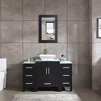 "48"" Black Bathroom Vanity and Sink Combo Single Top Vessel Sink w/Mirror Faucet and Drain"