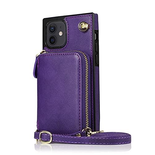Funda con Cuerda Compatible El Soporte de la Tarjeta del condón del teléfono móvil se Aplica a los teléfonos móviles de iPhone Se Pueden Realizar 6 Ranuras de Tarjetas,Purple,iPhone11ProMax(6.5)