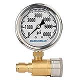 """Measureman 2-1/2"""" Pressure Washer Gauge, Pressure Gauge Kit, 3/8 Inch Quick Connect, 0-6000 PSI, Glycerin Filled"""