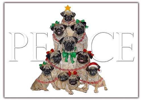Pug Christmas Cards Set of 10 cards & 10 envelopes