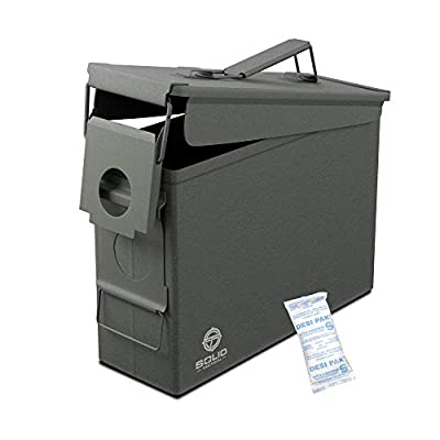 Solid Tactical 30 Cal Metal Ammo Can - Military & Army M2A1 Steel Waterproof Ammunition Box for Long Term Storage Case