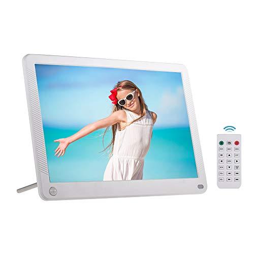 Andoer Marco de fotos digital LED Álbum electrónico para ordenador de sobremesa IPS 1280 x 800 funciones de detección de movimiento con mando a distancia (10, blanco)