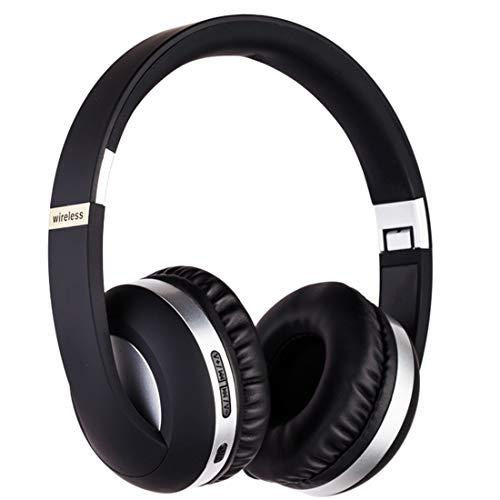 PPMM Auriculares Bluetooth con micrófono y graves profundos inalámbricos sobre la oreja con cómodas almohadillas de proteína para smartphone, tableta, portátil, ordenador, color plateado