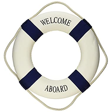 Oliasports Welcome Aboard Cloth Life Ring Navy Accent Nautical Decor 13.5  New - Decoration Only