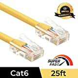 Omnigates 3ft Non Booted RJ45 Cat6 Gigabit Ethernet Network Patch Cable Gold Plated UTP, Yellow