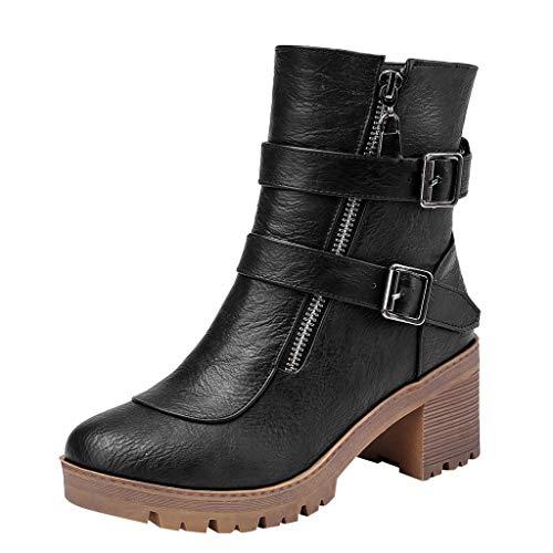 Botines Mujer, LANSKIRT Botas de Mujer con Doble Hebilla de Cinturón Botines Invierno Cortas Tacones Gruesos Zapatos Retro 35 EU - 43 EU