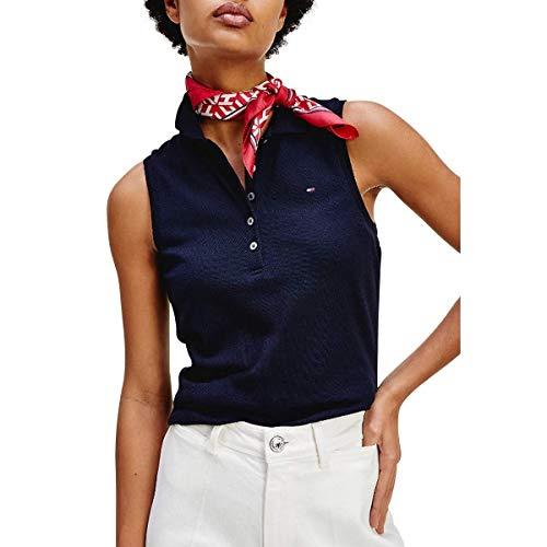 Tommy Hilfiger No Sleeve Slim Polo, Azul (Desert Sky Dw5), 46 (Talla del Fabricante: XXX-Large) para Mujer