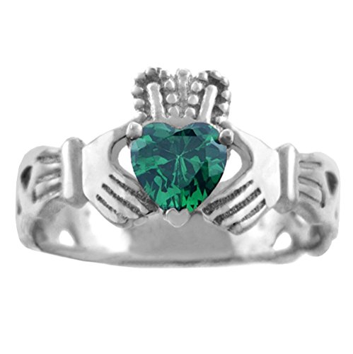 925 Sterling Silver Solitaire Green CZ Celtic Knot Claddagh Ring (17)