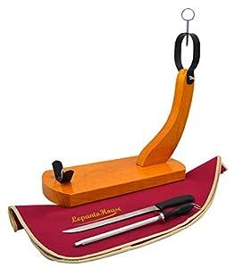 JAMONERO Gondola Modelo HUELVA Hammon EN Color Miel con Cuchillo JAMONERO CHAIRA Y Cubre Jamon DE Regalo VALIDO para EL HOGAR como para Restaurante (Burdeos)