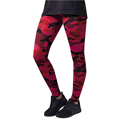manadlian Damen und Mädchen Camo Leggings 2018 Neue Frauen Sport Camo Cargo Hosen Jugend Outdoor Casual Camouflage Hosen Jeans Yoga Hose Damen (S, Rot)