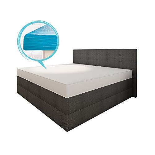 bellvita silverline Wasserbett BOXSPRING-Optik inkl. Lieferung & Aufbau durch Fachpersonal, 200cm x 220cm (Feinstoff anthrazit)