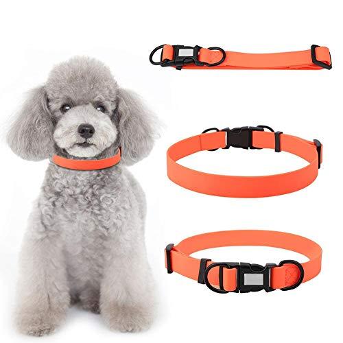Collar para Mascotas Impermeable PVC Anillo para Perro con Cuello Ajustable Perro Gato para Perros Collar con Cuello para Actividades al Aire Libre Collar Perro Anaranjado Aluminio Anillo D(L)
